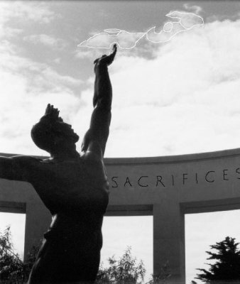Retouched Photograph--Statue entitled: Spirit of American Youth in Normandy, France.