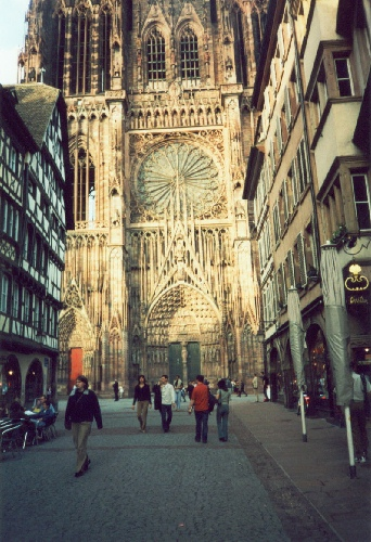 Cathedral in Strasbourg as seen from the street